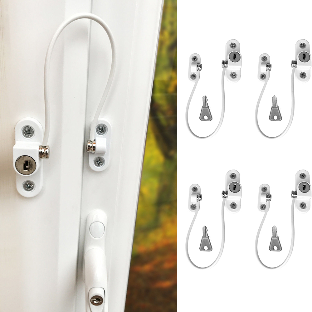 4Pcs Baby Safety Window Locks Stainless Child Window Restrictor Infant Security Lock Safety Prevent Baby Falling Window Limiter