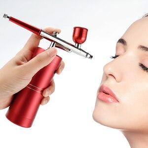 Image 2 - Аэрограф с компрессором, портативный Краскораспылитель для нейл арта, тату, нанесения макияжа, торта, глубокое увлажнение