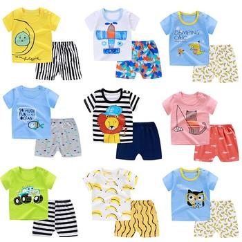Zestawy odzieży letniej dla dzieci chłopiec 2 szt Koszulka z krótkim rękawem + spodenki garnitur niemowlę dziewczyna bawełniana koszulka dla dzieci tanie ubrania 0-4 lat tanie i dobre opinie COTTON Damsko-męskie 7-12m 13-24m 25-36m 4-6y Na co dzień CN (pochodzenie) Lato Z okrągłym kołnierzykiem Pulower SHORT