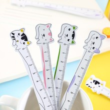 30Pcs Wooden Ruler Cartoon cat painting measuring Gift Stationery Straight Rulers green purple Black pink wholesale 12CM