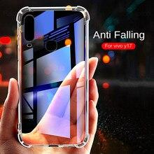 Caso de telefone transparente para vivo y91 y95 y93 y17 y3 y15 y12 v15 pro macio tpu escudo do telefone anti-queda na capa traseira vivo y17