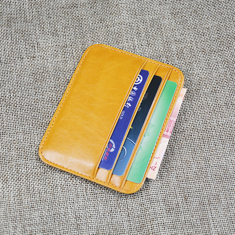 100% Cow Leather Plus Size Vintage Card Case Horizontal Glossy credit Round Corner Vintage Genuine Leather card holders