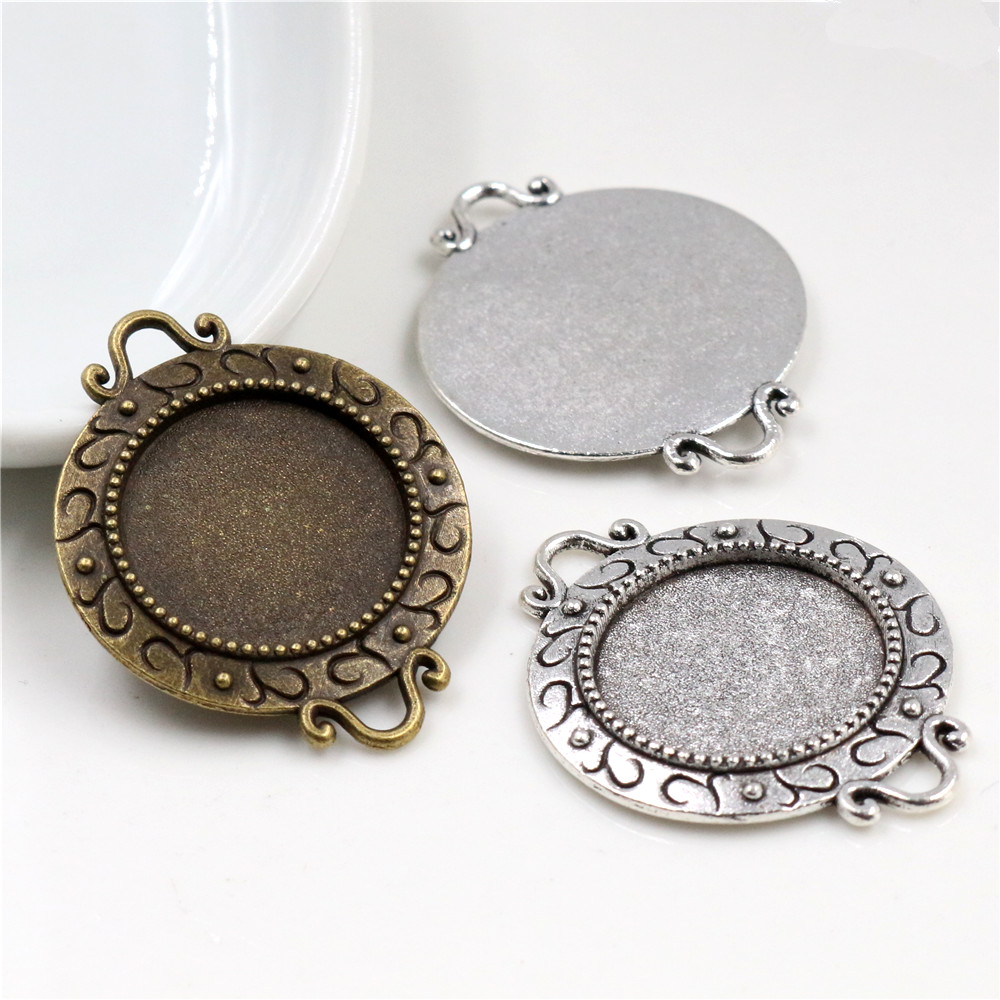 10pcs 18mm Inner Size Antique Bronze And Silver S Texture Connection Style Cabochon Base Cameo Setting Charms Pendant