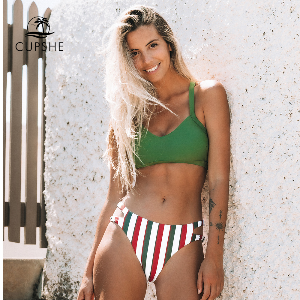 CUPSHE Green And Stripe Cut Out Bikini Sets Sexy Mid-waisted Halter Swimsuit Two Pieces Swimwear Women 2020 Beach Bathing Suits