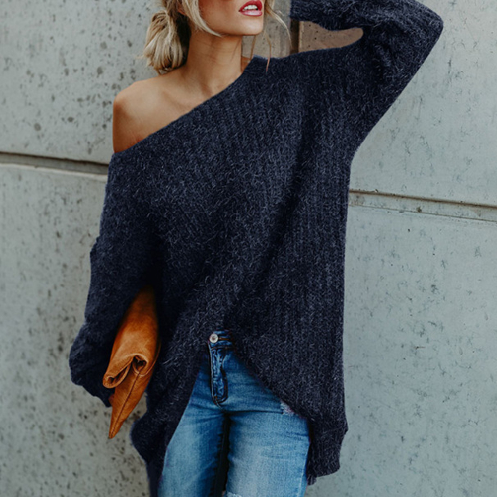 Womens Sweater Slash Neck Off Shoulder Knitted Pullover Spring Autumn Sweaters Loose Ladies Jumper 2019 New Knitwear Loose Flare