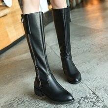 Зимние сапоги до колена на танкетке; модные женские сапоги; модные повседневные женские модельные сапоги с боковой молнией и пряжкой; высокие сапоги; Zapatos De Mujer