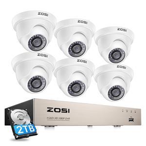 Image 1 - ZOSI CCTV מערכת 1080P מלא HD 8CH H.265 + DVR 6pcs 2.0MP כיפת אבטחת מצלמה 24pcs IR LED חיצוני בית מעקב מערכת