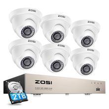 ZOSI system CCTV 1080P Full HD 8CH H.265 + DVR 6 sztuk 2.0MP kamera kopułkowa monitoringu 24 sztuk IR LED odkryty System nadzoru domu
