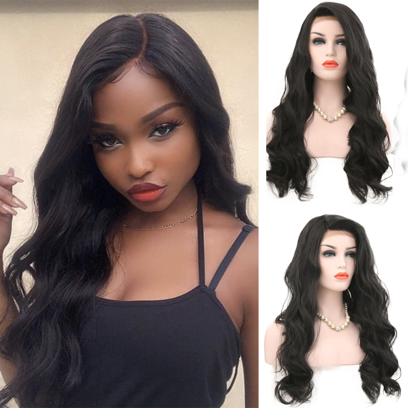 Charisma Wig Natural-Hairline Lace-Front Body-Wave Black-Color Synthetic 24inch Women title=
