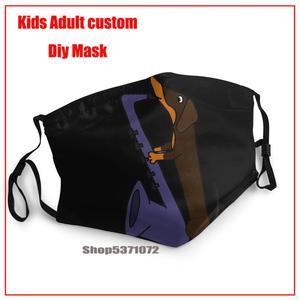 Такса собака играет синий саксофон печати Моющиеся многоразовые маски против пыли Половина лица рот маска для детей подростков мужчин женщ...