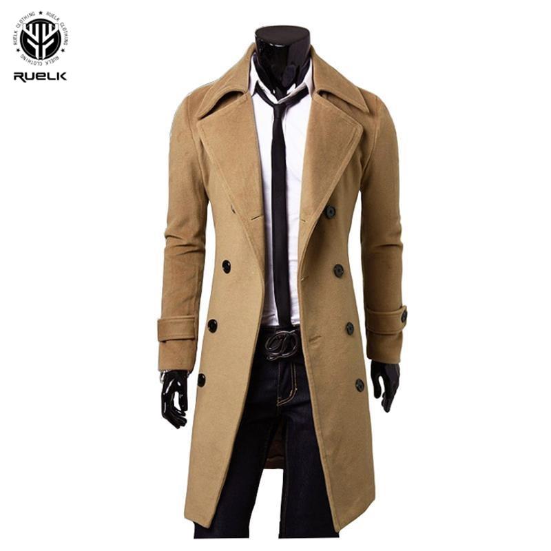 RUELK 2020 Autumn And Winter Large Size Men's Jumpsuit Single-Sided Wool Coat Jacket Long Double-Breasted Jacket Windbreaker Men