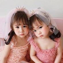 Детская кружевная Тюлевая повязка на голову с бантом в Корейском