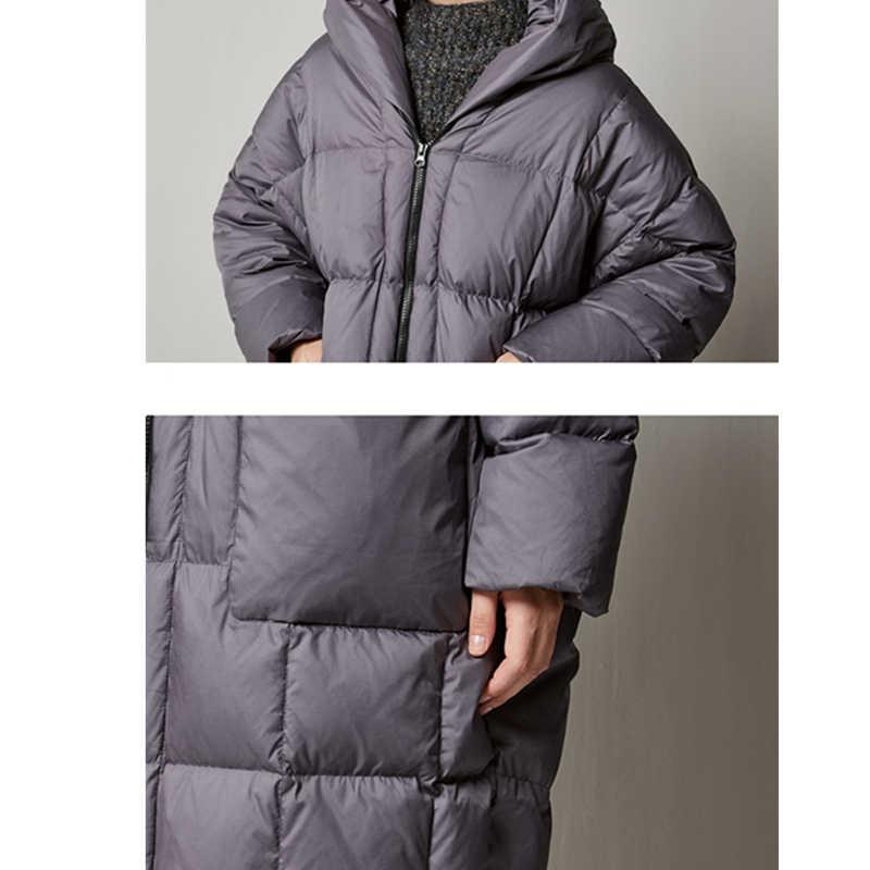 2019 плюс размер Зимний пуховик 90% белый утиный пух толстые женские пуховые пальто с капюшоном свободные теплые Parker верхняя одежда женская одежда