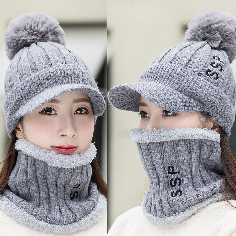 Women's Hat And Scarves Set Winter Kitted Wool Winter Hats For Women Scarf Warm Three Pieces Beanie Winter Women's Hat