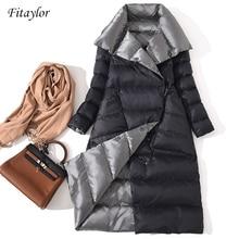 Fitaylorผู้หญิงคู่ด้านลงเสื้อฤดูหนาวฤดูหนาวเป็ดสีขาวลงDouble Breasted Warm Parkas Outwearหิมะ