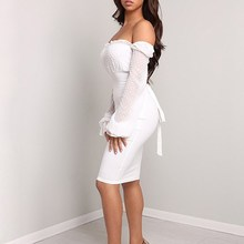 цены Women Party Back Dots Splicing Lace-Up Sexy Dress Club Tight White Mesh Dress Slim Solid Flare Sleeve Bodycon Dresses