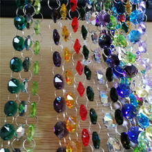 14mm Crystal Beads Chain Various Colors Glass Garland Strand Feng Shui For Home Wedding