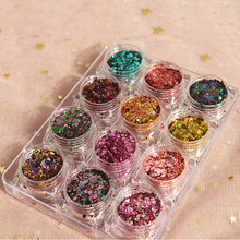 kxy Mixed Hexagon Shape Chunky Nail Glitter Sequins Sparkly Flakes Slices Manicure Body/Eye/Face Glitter