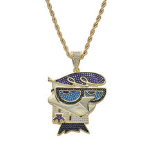 Hip Hop AAA CZ Stone Paved Bling Iced Out Mr Little Bird Cartoon Character Pendants Necklace for Men Rapper Jewelry Gold Silver(China)