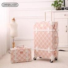 """2""""-26"""" Спиннер колеса розовый решетки вализ багаж чемодан из ПУ-кожи женские ствол винтажные чемоданы прокатки багаж для девочек"""