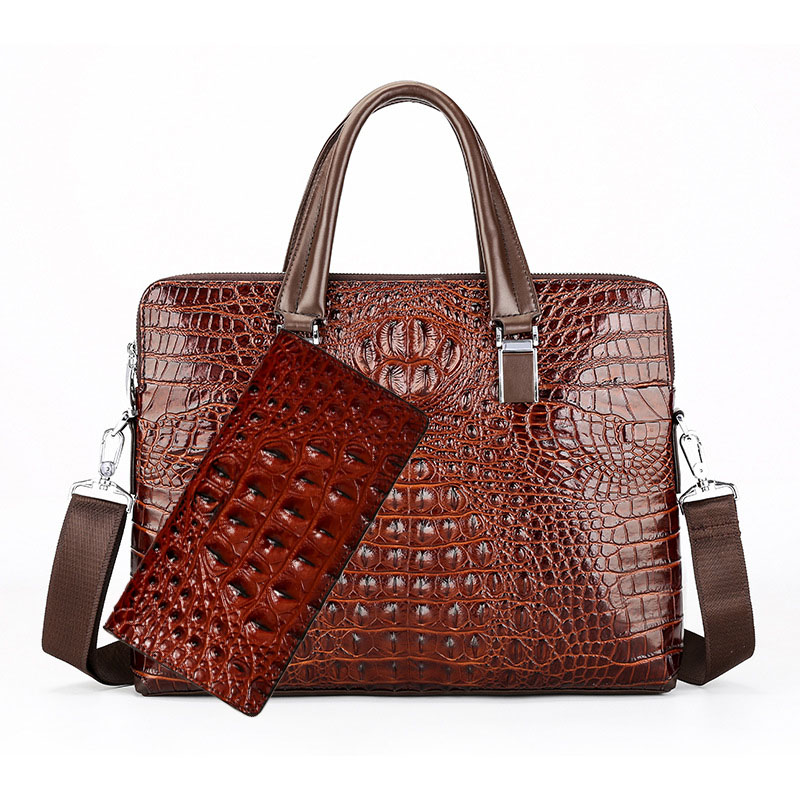 Real Leather Crocodile Pattern Briefcase Men's Shoulder Diagonal Messenger Bag Fashion Computer Designer Luxury Handbag Hot Sale