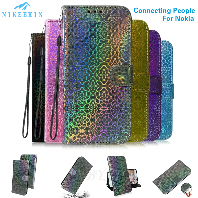 Wallet Flip Cover for <font><b>Nokia</b></font> 8.1 X7 <font><b>7.1</b></font> 6.2 Leather Solid Color <font><b>Case</b></font> for <font><b>Nokia</b></font> 5.1 3.1 2.2 1 Plus Gradient <font><b>Case</b></font> for <font><b>Nokia</b></font> 3.2 4.2 image