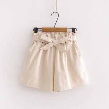 Women's High Waist Shorts Solid Color Casual Loose Wide Leg Shorts Bow Elastic Waist Hot Shorts
