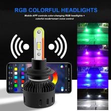 2X H7 Led RGB phare coloré H11 voiture lumières H8 H9 Turbo LED App Bluetooth contrôle 8000LM multicolore antibrouillard ampoule