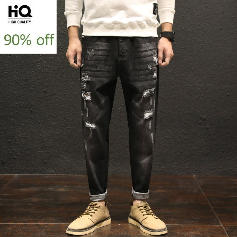 2020 Japan Style Mens Hole Ripped Jeans Black Mens Classical Pencil Jeans Pants Plus Size 42 Fashion Mid Waist Mens Pants Casual