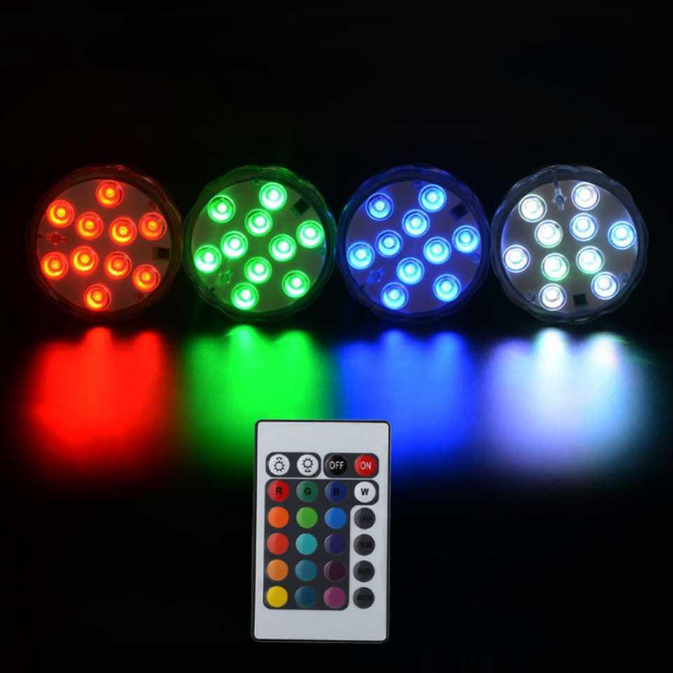 10 LEDs Remote Gesteuert RGB Tauch Licht Batterie Betrieben Unterwasser Nacht Lampe Außen Vase Schüssel Garten Party Dekoration