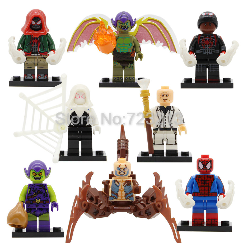 Super Hero Spider Man Gwen Figure Scorpion Miles Morales Kingpin Green Goblin Ultimate Spider-Man Building Blocks Toys Legoing