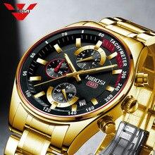NIBOSI – Montre dorée tendance à quartz pour homme, montre-bracelet de luxe, de marque haut de gamme, avec chronographe étanche