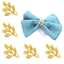 TAI Top 6 Pcs/Set Leaves Gold Silver Napkin Rings For Wedding Party Metal Leaf Napkin Holder Hotel Supplies Table Decoration tai top 1 pc flower napkin rings gold silver crystal napkin holders napkin buckle for wedding dinner party table decoration