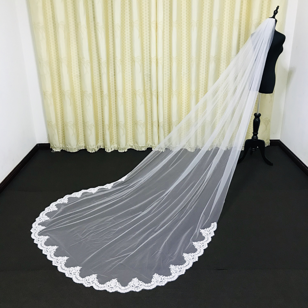 Romantic Bridal Veils Cathedral Length Lace Applique Edge Custom Made Wedding Veils Fashion Design Latest Bridal Accessories 3M