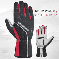 ROCKBROS Cycling Gloves Men's Full Finger Cycling Gloves Windproof Thermal Bike Bicycle Gloves Guantes Mtb Anti slip