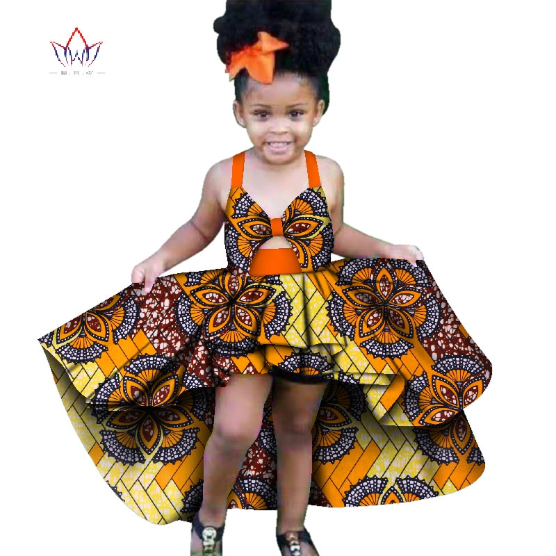 In Stock New Fashion Africa Children Clothing Dashiki Cute Girls Dresses Bazin Ruffles African Traditional Clothing WYT277