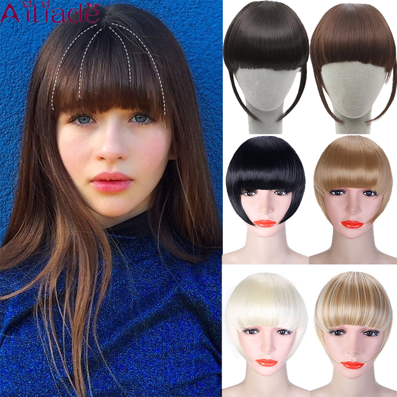 AILIADE Short Front Blunt Bangs Clip In Bang Fringe Hair Extensions Straight Synthetic Natural Fake Hairpiece Multiple Colour