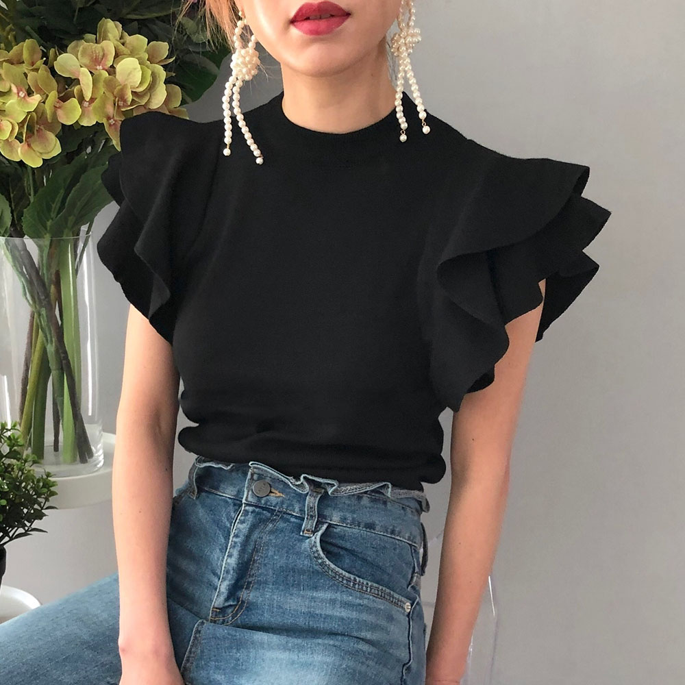 2020 Korean Summer Ruffles Short Sleeve Women T Shirt Knitted Tops Tees Female Chic Solid Loose T-Shirt Loose Elegant Pullover