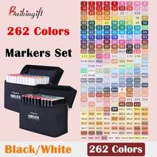 80/168/202/262 cores ponta dupla arte marcador canetas forro fino marcadores aquarela desenho pintura caneta escova material escolar 04379