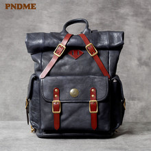 PNDME fashion vintage high quality genuine leather mens womens backpack handmade luxury designer soft cowhide laptop bagpacks