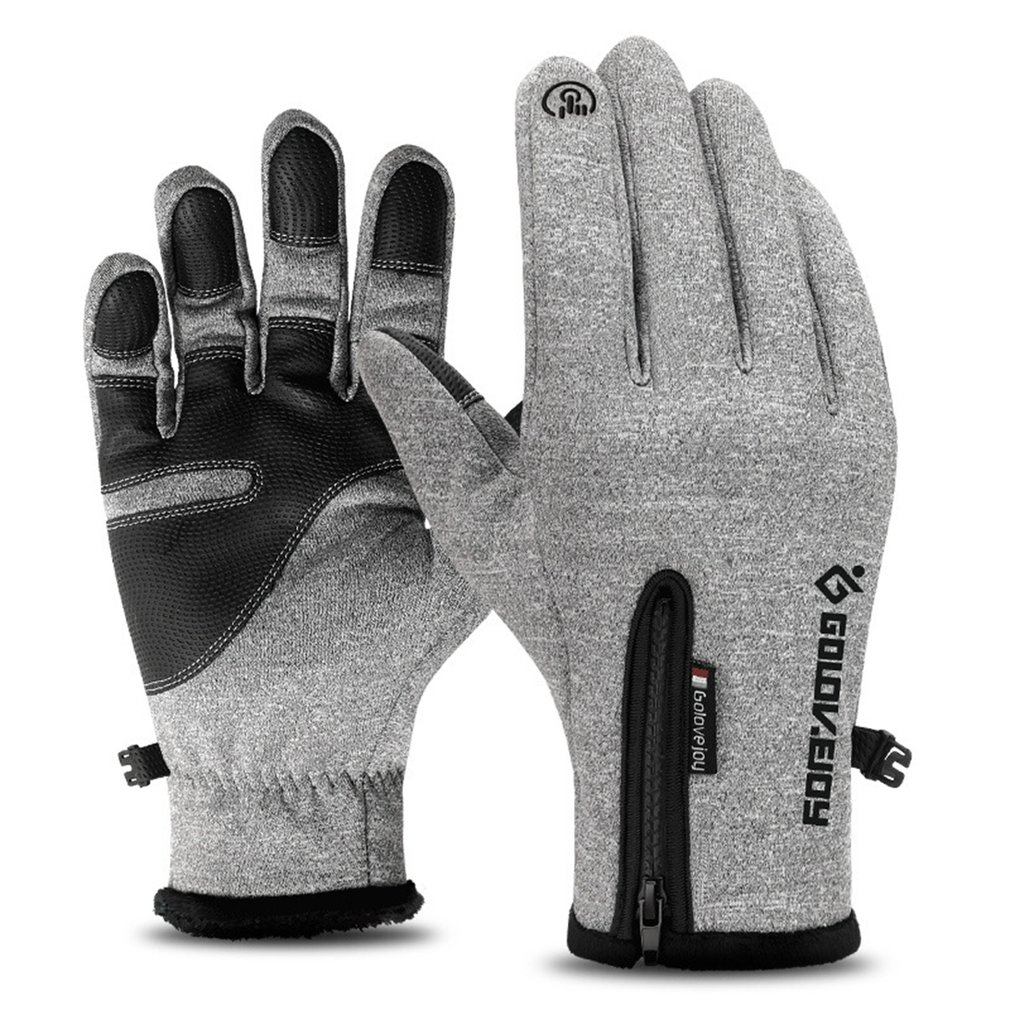 Outdoor Waterproof Cycling Ski Gloves Winter Touch Screen Men And Women Windproof Warm Riding Full Finger Zipper Gloves