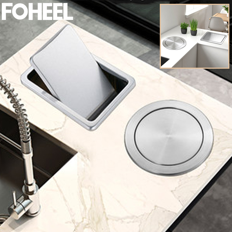 FOHEEL Kitchen Sink Parts Kitchen Counter Top Stainless Steel Flush Recessed Swing Flap Lid Cover Trash Bin Garbage Can FKS49