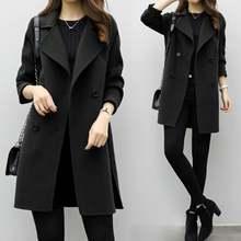 Осенне зимнее женское Шерстяное Пальто с длинным рукавом и отложным