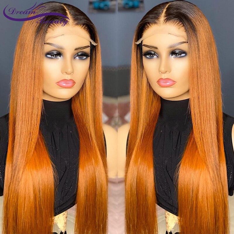 Омбре/чистый цвет человеческих волос парики бразильские волосы Remy 13x 4/13x 6/360/полный парик шнурка с отбеленными узлами предварительно выщипы...