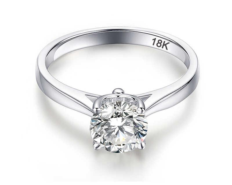 95% オフ! Yanhui 証明書とシルバー 925 リング本物の固体 18 18k ホワイトゴールド pt 2 カラットラボダイヤモンドリング結婚指輪女性のギフト