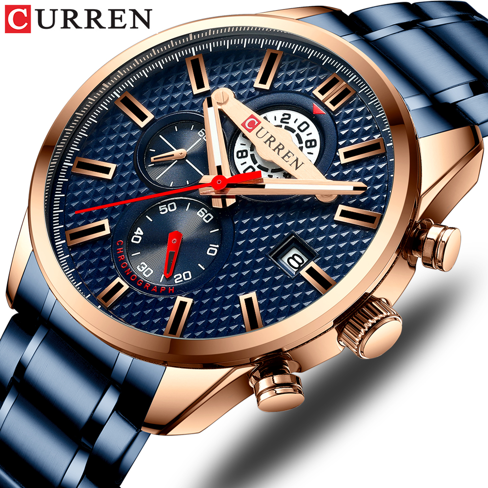 CURREN Fashion Creative Chronograph Men Watches Sports Business Wrist Watch Stainless Steel Quartz Male Clock Reloj Hombre