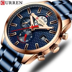 Image 1 - CURREN Fashion Creative Chronograph Men Watches Sports Business Wrist Watch Stainless Steel Quartz Male Clock Reloj Hombre
