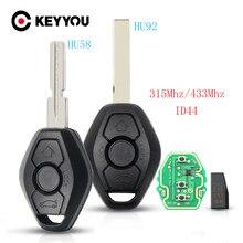 KEYYOU clave para BMW X3 X5 Z3 Z4 E38 E39 E46 1/3/5/7 serie 315/433MHz ID44 Chip de entrada sin llave transmisor HU92/HU58 hoja