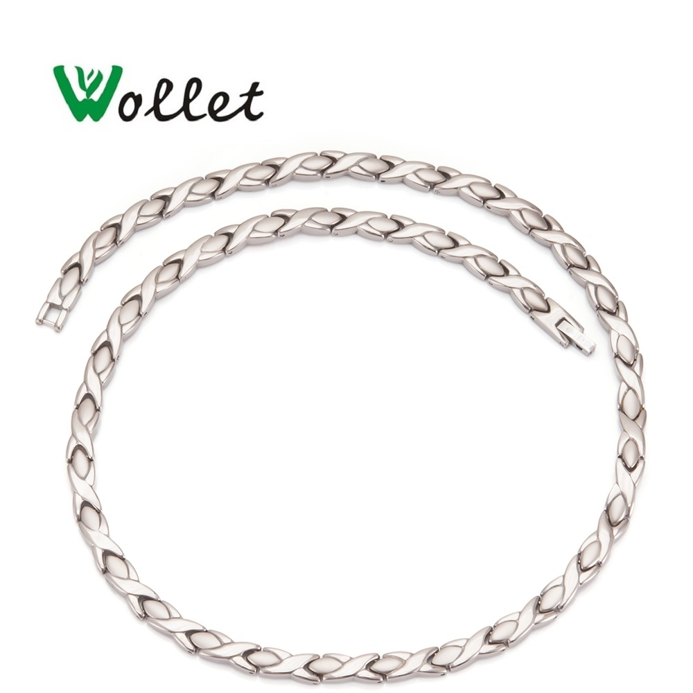 Wollet Jewelry Health Energy Magnetic Pure Titanium Necklace Infrared Germanium  Relieve Fatigue Cervical Spine Necklace-in Chain Necklaces from Jewelry & Accessories