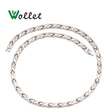 Wollet Jewelry Health Energy Magnetic Pure Titanium Necklace Infrared Germanium  Relieve Fatigue Cervical Spine Necklace